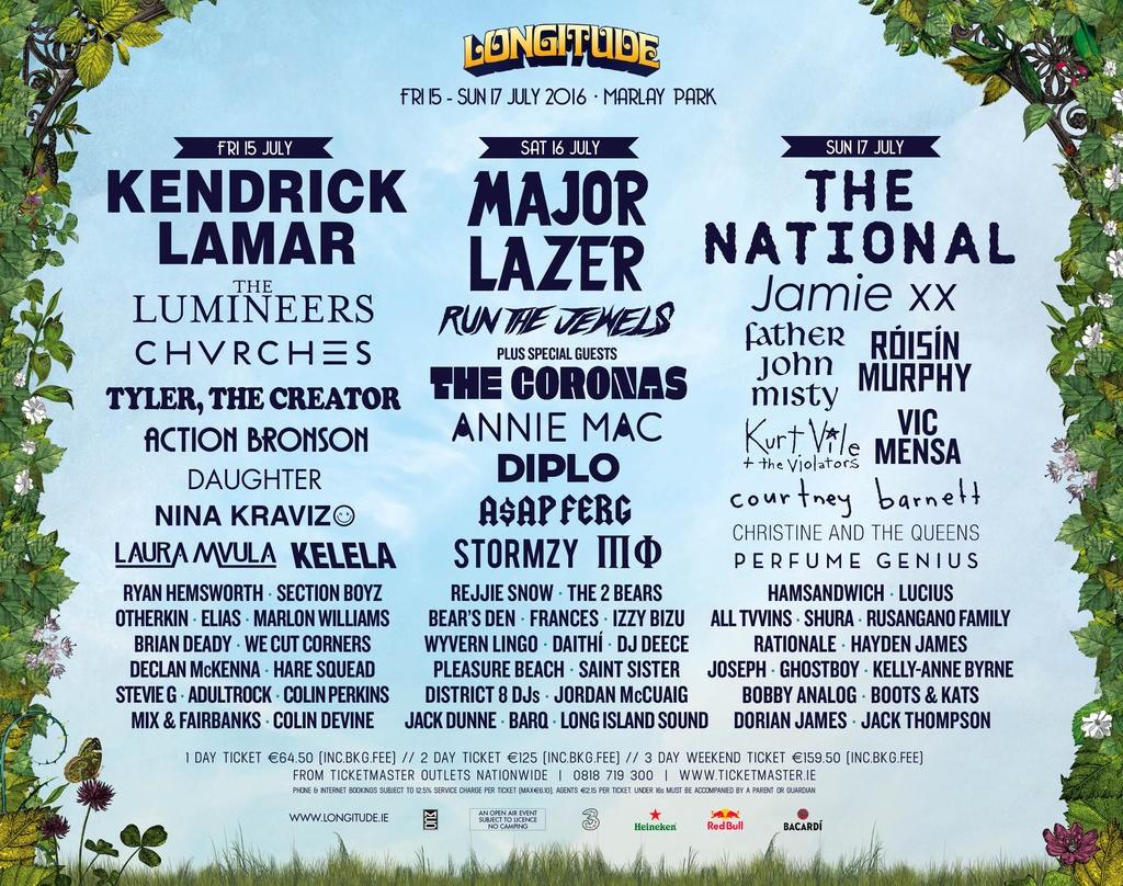 La programmation 2016 du Longitude Festival  www.longitude.ie/line-up