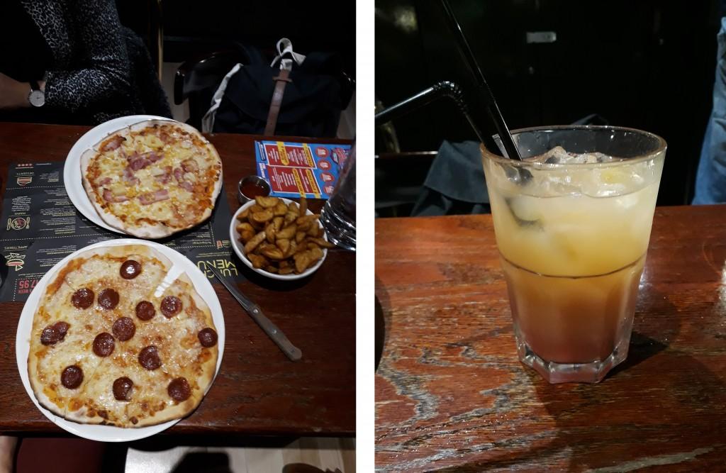 2 pizzas pour 12,25, un bol de wedges avec sauce pour 4,95 et un cocktail chacune